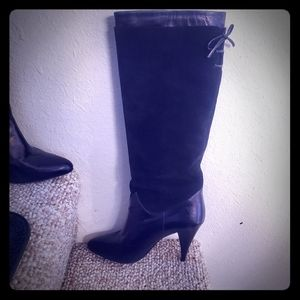 Shoes - Black suede and leather heeled boot MADE IN SPAIN